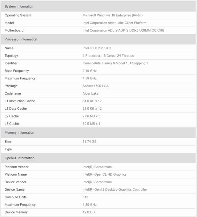 Overzicht van hardware-componenten die aangetroffen zijn in een getest systeem op GeekBench 5.