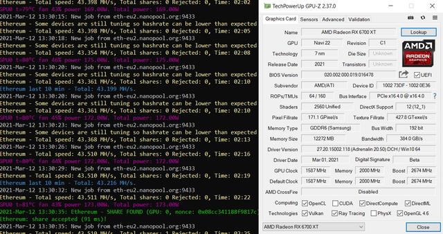 Mining-resultaten in Ethereum van de AMD Radeon RX 6700 XT op stock-snelheden.