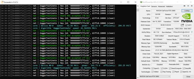 Mining-resultaten in Ethereum van de Nvidia GeForce RTX 3060 op stock-snelheden, maar met de hashrate-limieten verwijderd.