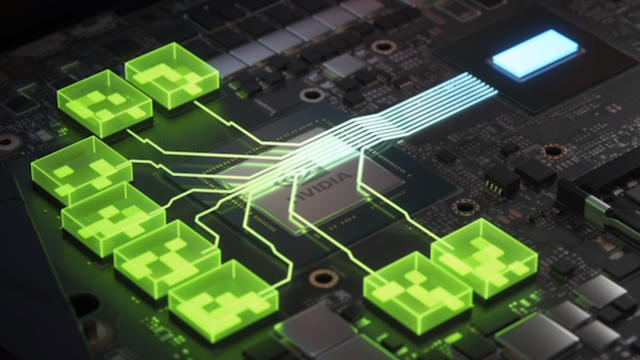 Visualisering van de Resizable BAR-technologie, die het mogelijk maakt om het videogeheugen van een gpu direct toegankelijk te maken voor de cpu, waarmee speldata sneller ingeladen kan worden.