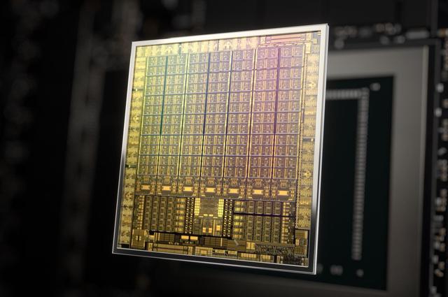 Render van een Ampere-gpu van Nvidia, te vinden in de RTX 30-generatie aan videokaarten van de fabrikant.
