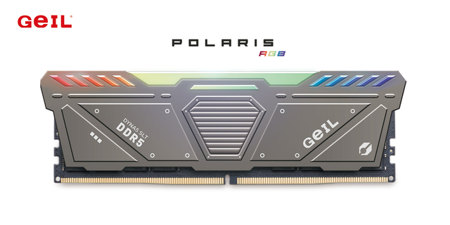 Promotionele afbeelding van een Polaris RGB-geheugenmodule, GeIL's eerste DDR5-kit.