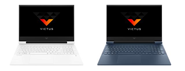 De witte en marineblauwe uitvoeringen van HP's eerste Victus-gamelaptop.