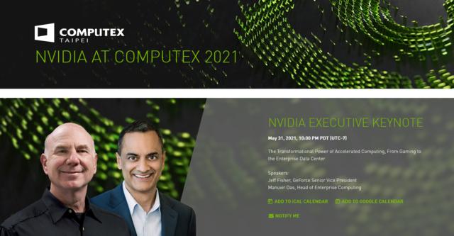 Screenshot van de Computex' webpagina van NVIDIA, met informatie over de keynote die op 31 mei 2021 uitgezonden zal worden.