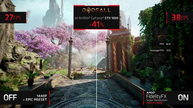 Zij-aan-zij screencaps van de game Godfall, draaiende op een GeForce GTX 1060 met en zonder FidelityFX Super Resolution.