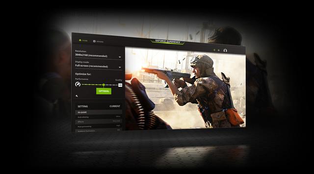 Gestileerd screenshot van de GeForce Experience, welke updates en nieuwe functies uitrolt voor Nvidia-videokaarten.
