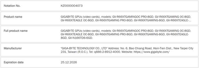 Screenshot van de EEC-website, waar Gigabyte nummertjes heeft getrokken voor een zestal verschillende Radeon RX 6600 XT-videokaarten.