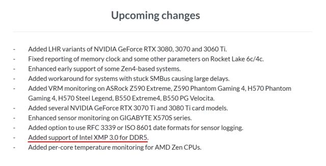 Screenshot van de aanstormende changelog van de HWiNFO-software. De zin 'Added support of Intel XMP 3.0 for DD5' is onderstreept.