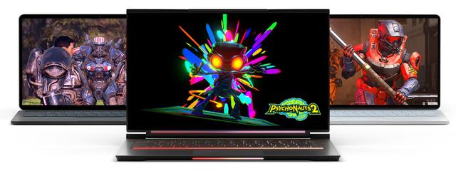 Drie Windows 11-laptops, elk met een eigen titel uit Xbox Game Pass op het beeldscherm afgebeeld.