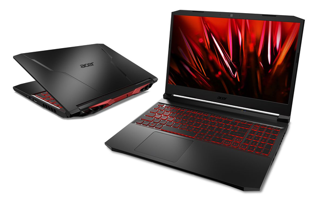 Gecompileerde productfoto van de Acer Nitro 5-laptop, afgebeeld in zowel open als nagenoeg dichtgeklapte vorm.