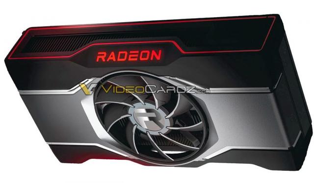Vermeende render van AMD's nog onaangekondigde Radeon RX 6600 XT-videokaart.