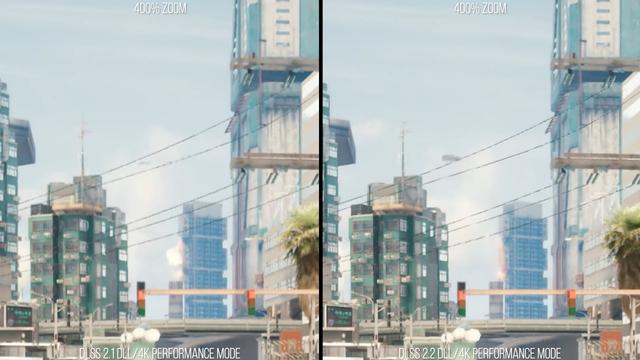 Zij-aan-zij vergelijking van twee verschillende Nvidia DLSS-versies in Cyberpunk 2077.