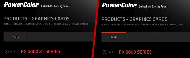 Screenshots van de PowerColor-website, maar daarop verschijning van de nog onaangekondigde Radeon RX 6600 XT en Radeon RX 6600.
