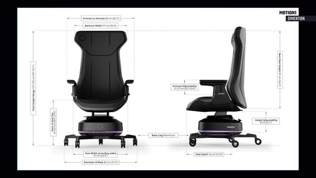 De dimensies van de Cooler Master Motion 1-bureaustoel.