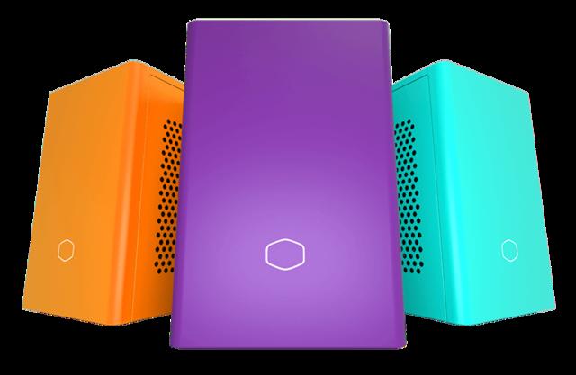 Van links naar rechts de Sunset Orange, Nightshade Purple en Caribbean Blue gelimiteerde uitgaven van de Cooler Master NR200P-kasten.