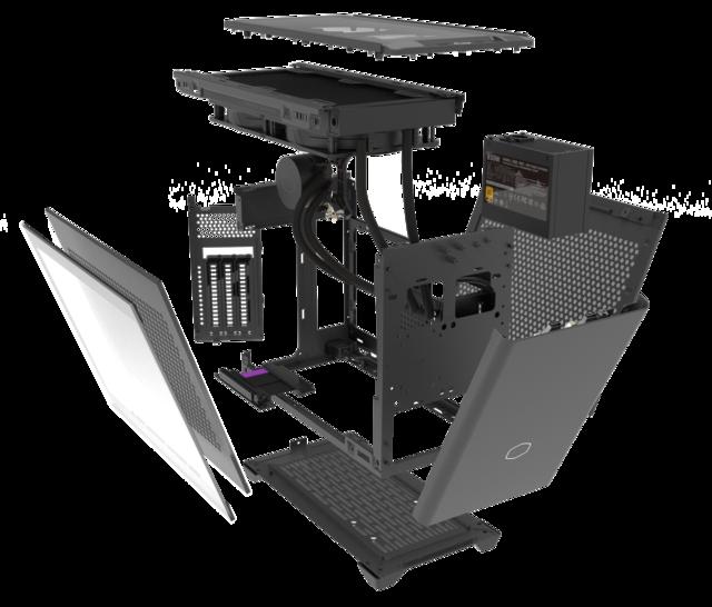 Geëxplodeerde weergave van de Cooler Master NR200P MAx en alle verschillende componenten die inbegrepen zijn.