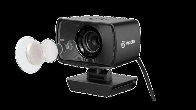 Geëxplodeerd beeld van de Elgato Facecam, waarop de Elgato Prime Lens en diens elementen goed zichtbaar zijn.