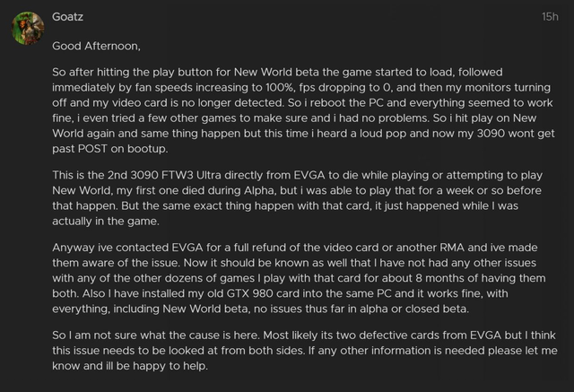 Screenshot van Goatz' eerste bericht over defecte RTX 3090-videokaarten in Amazon-mmo New World.