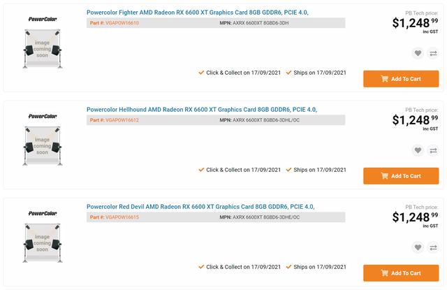 Screenshot van drie PowerColor-uitvoeringen van de Radeon RX 6600 XT in de verkoop.