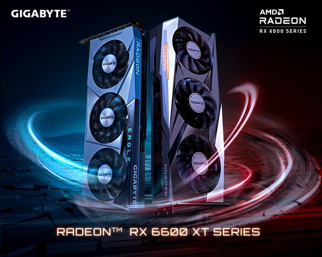 Gelekte afbeelding van de Gigabyte Aorus Gaming- en Eagle-varianten van de nog onaangekondigde Radeon RX 6600 XT-videokaart.