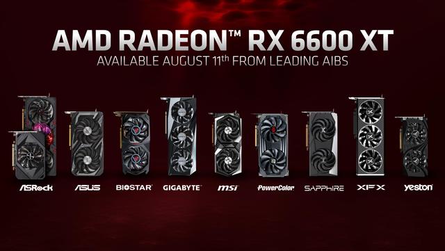 Compilatie van verschillende partnerdesigns voor AMD's Radeon RX 6600 XT-gpu.
