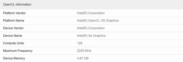 Gpu-gegevens bij een Geekbench V5-test, gedraaid op een tweede generatie Intel Xe Graphics-videokaart.