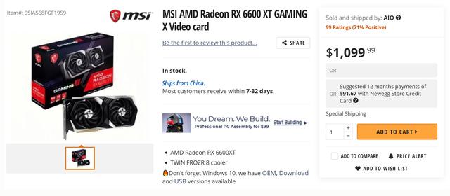 Screenshot van een Newegg-pagina voor de MSI Radeon RX 6600 XT Gaming X-videokaart.