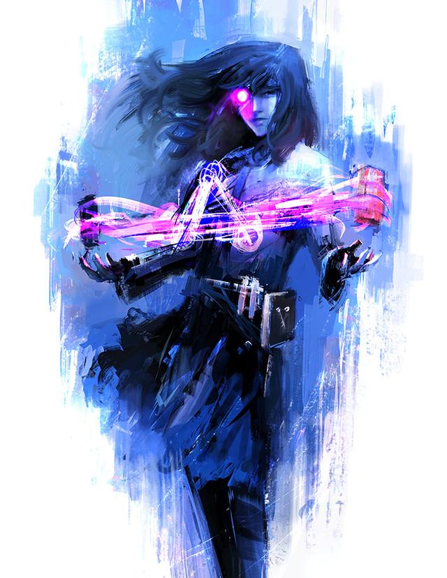 Complete artwork van 'Alchemist', het fictieve marketingkarakter voor de eerste generatie Intel Arc-producten.
