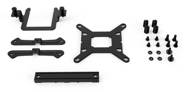 Alle onderdelen van de LGA1700-kit voor be quiet!-koelers.