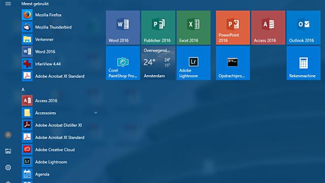 Tem je Windows 10 Startmenu