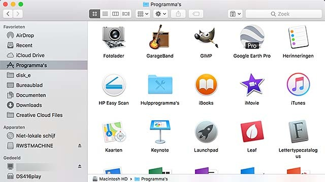 De macOS Finder bevat ook een onderdeel met al je software