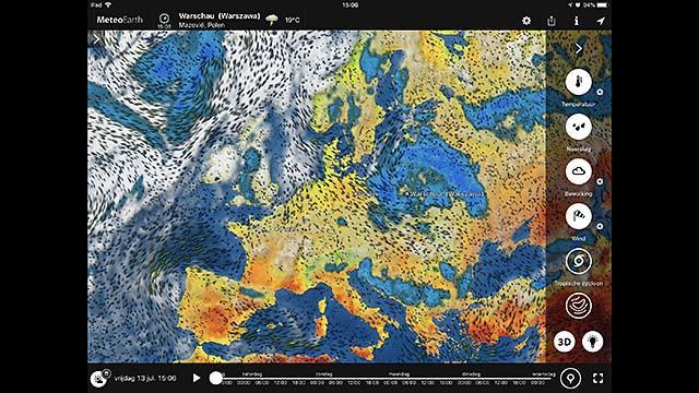 De app MeteoEarth houd je op indrukwekkende wijze op de hoogte van het weer