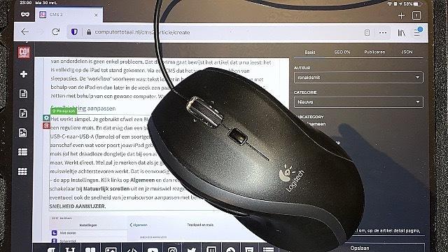 De iPad gecombineerd met een muis levert een wel heel handige combinatie op