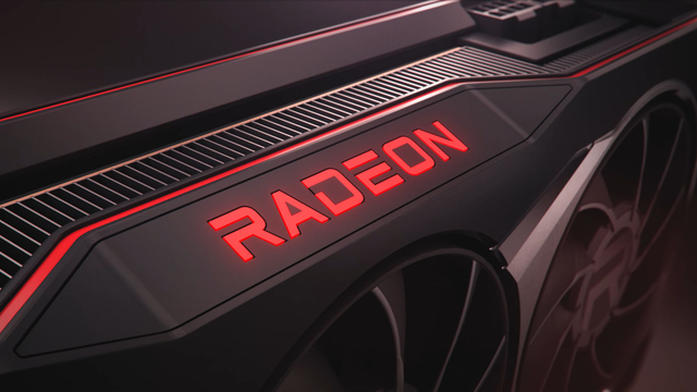 Close-up render van het Radeon-logo op een van de nieuwe AMD Radeon RX 6000-videokaarten.