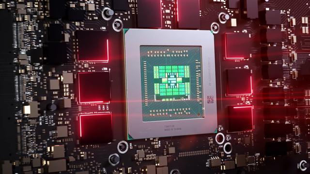 Render van een Navi 2X-chip op een AMD Radeon-videokaart.