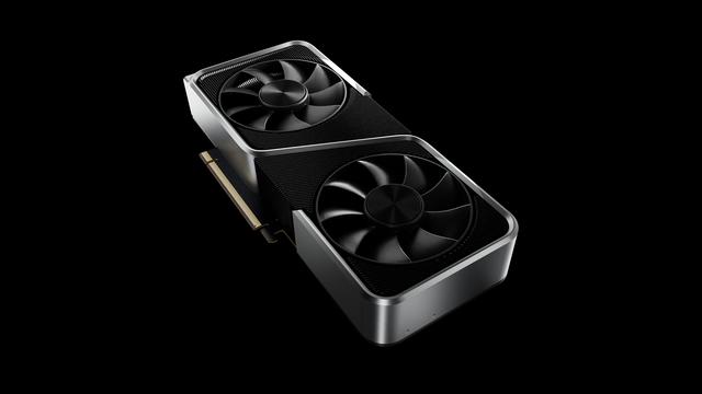 3D-render van de NVIDIA GeForce RTX 3060 videokaart.