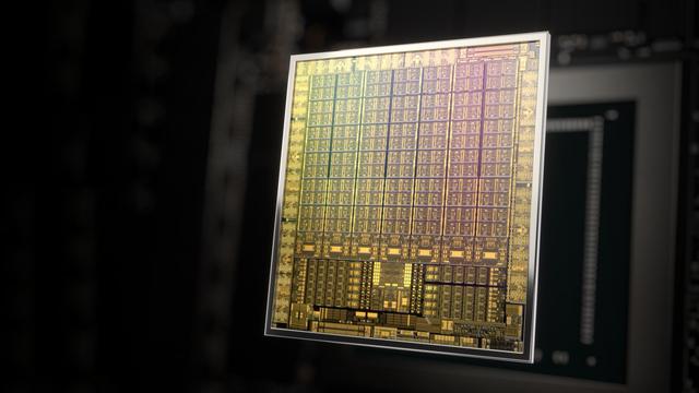 Computerafbeelding van een Ampere-gpu, te vinden in de RTX 30-videokaarten van Nvidia.