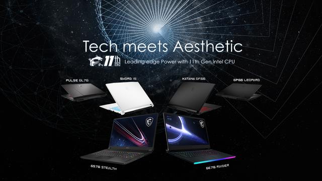 Promotionele afbeelding van alle nieuwe gamelaptops van MSI die over een Intel Tiger Lake-H-cpu beschikken.