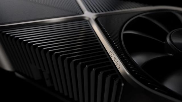"""Gefabriceerd beeld van een NVIDIA GeForce RTX 3080, waarvan de naam digitaal verrijkt is met een """"Ti"""" erachter."""
