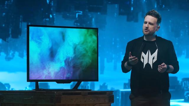 Screengrab van de digitale Next@Acer 2021-presentatie, waarin woordvoerder Clark Gurden de vernieuwde Predator CG7-monitor uitlicht.