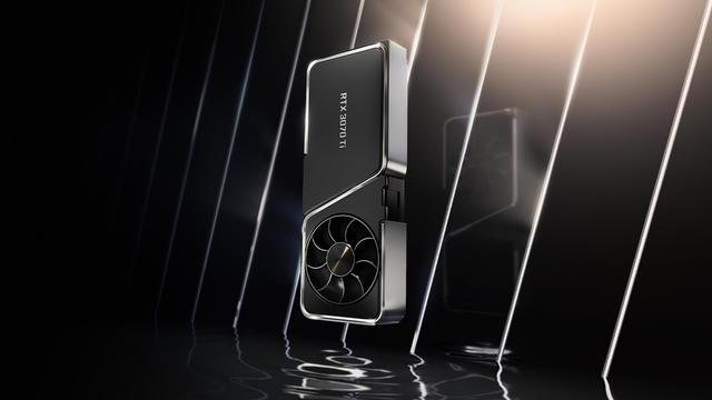 Promotionele render van de Nvidia GeForce RTX 3070 Ti-videokaart.