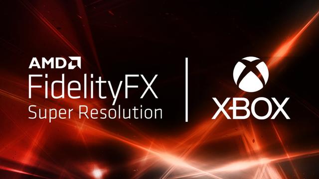 Zij-aan-zij de logo's van AMD FidelityFX Super Resolution en die van Xbox.