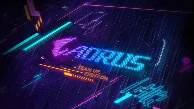Gestileerde wallpaper voor het Aorus-gamingmerk van Gigabyte.