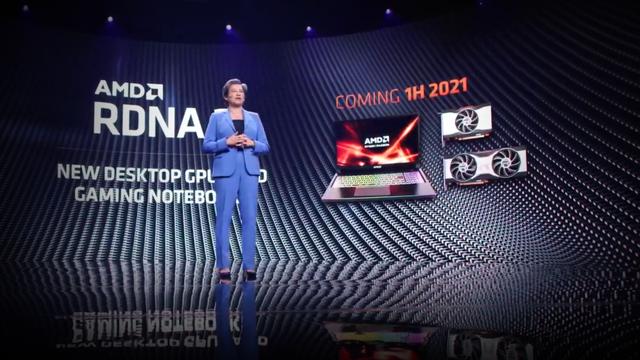 Screenshot van de Computex 2021-presentatie van AMD, waarop Dr. Lisa Su aankondigt dat onder meer een nieuwe budgetkaart in de Radeon RX 6000-generatie nog in de eerste helft van 2021 moet volgen.
