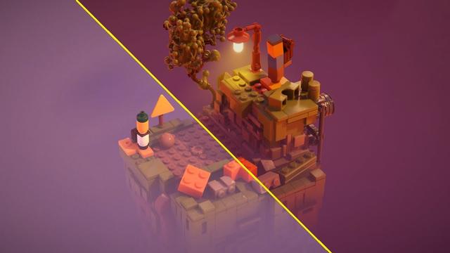 Gecompileerde afbeelding van Lego Builder's Journey; links zonder Nvidia's ray tracing en DLSS-upscaling, rechts mét die optimalisatie.