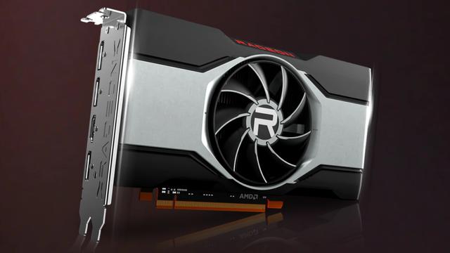 Productafbeelding van AMD's eigen referentiedesign van de Radeon RX 6600 XT-videokaart.