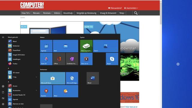 Zo ziet een Windows-desktop er op je iPad uit, draaiend onder de RDP-client van Microsoft zelfve.
