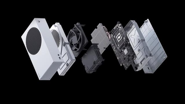 """""""Geëxplodeerd"""" aanzicht van de Xbox Series S-console."""