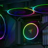 Promotionele render van de Razer Hanbo-koeler en Razer Kunai-ventilatoren in een game-pc.