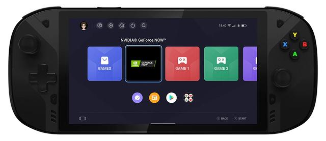 Vooraanzicht van de Lenovo Legion Play, een gaming-handheld op Android.